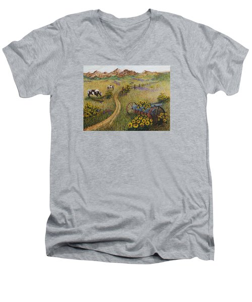 Cows Grazing Men's V-Neck T-Shirt by Katherine Young-Beck