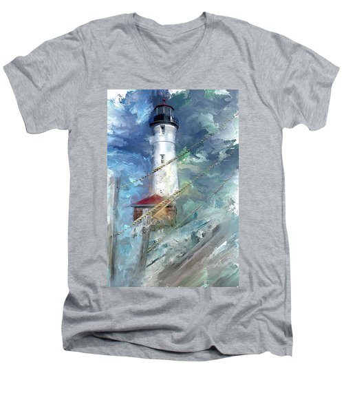Crisp Point Lighthouse Michigan Men's V-Neck T-Shirt