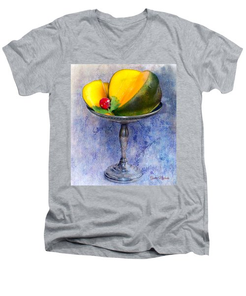 Cut Mango On Sterling Silver Dish Men's V-Neck T-Shirt