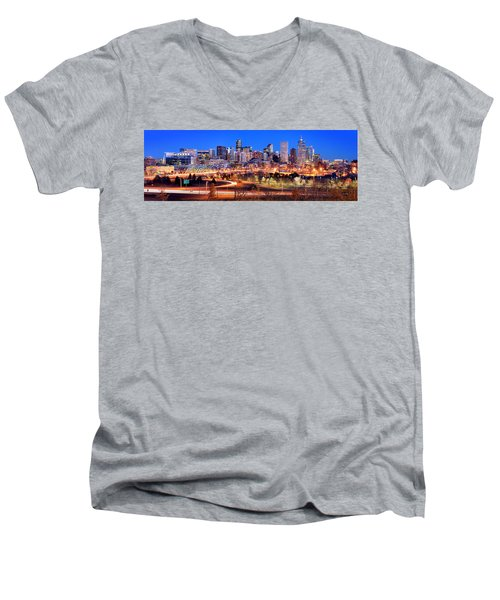 Men's V-Neck T-Shirt featuring the photograph Denver Skyline At Dusk Evening Color Evening Panorama Broncos Colorado  by Jon Holiday