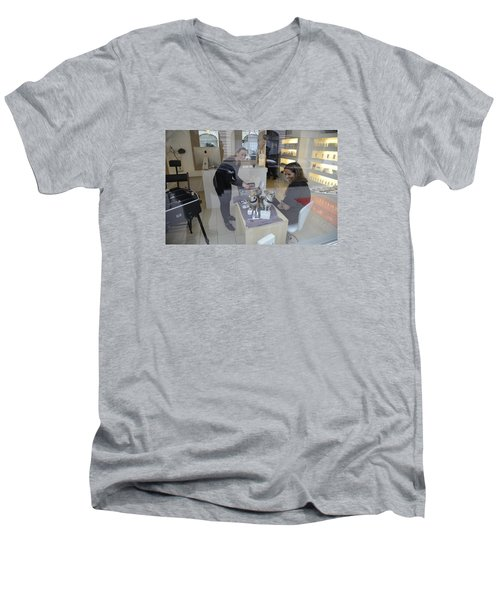 Men's V-Neck T-Shirt featuring the photograph Dog And True Friendship 8 by Teo SITCHET-KANDA
