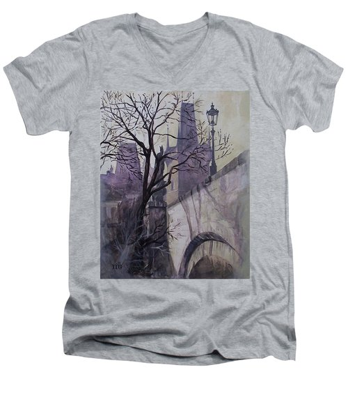 Dusk At The Charles Bridge Men's V-Neck T-Shirt