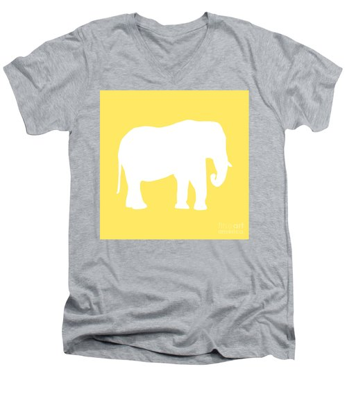 Elephant In Yellow And White Men's V-Neck T-Shirt