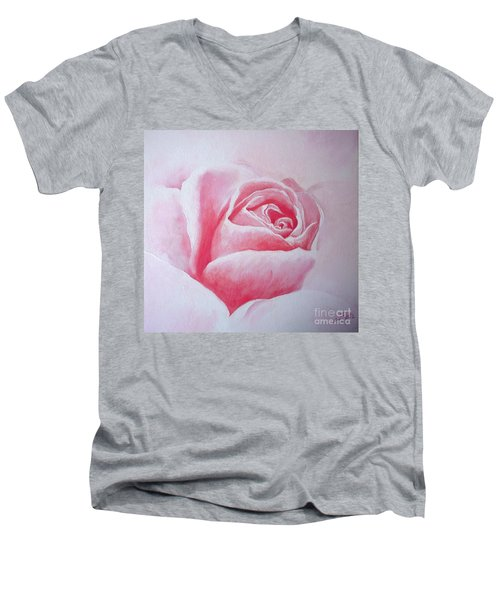 Men's V-Neck T-Shirt featuring the painting English Rose by Sandra Phryce-Jones