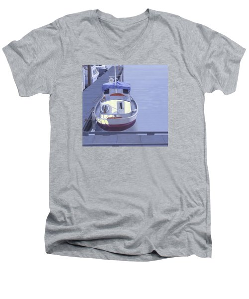 Men's V-Neck T-Shirt featuring the painting Evening At Port Hardy by Gary Giacomelli