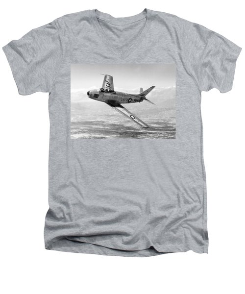 Men's V-Neck T-Shirt featuring the photograph F-86 Sabre, First Swept-wing Fighter by Science Source