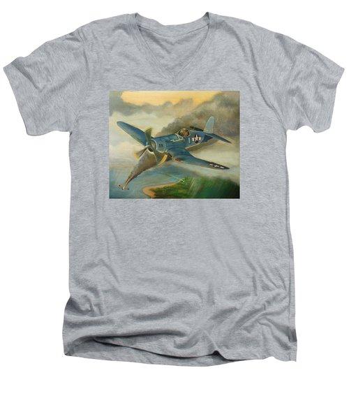 F4u Corsair Men's V-Neck T-Shirt by Stuart Swartz
