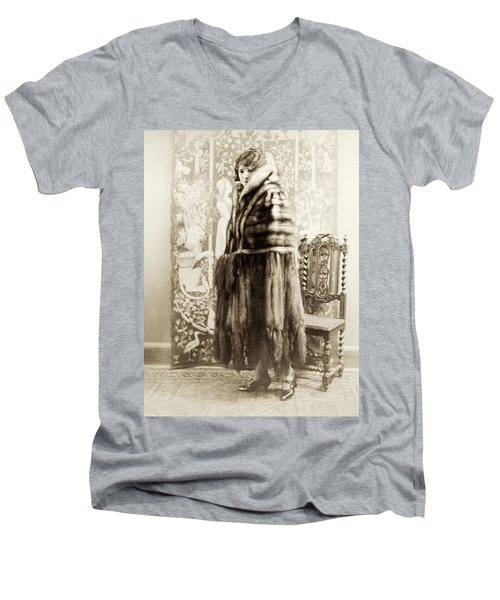 Men's V-Neck T-Shirt featuring the photograph Fashion Fur, 1925 by Granger