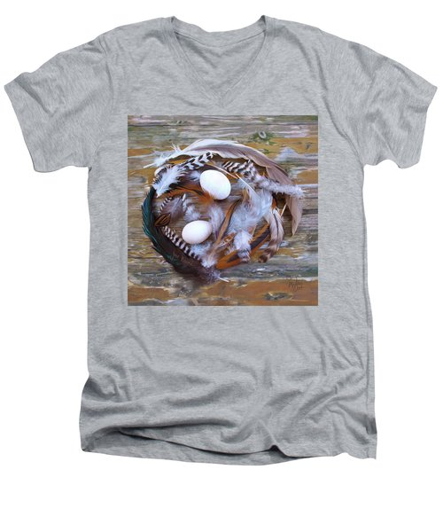 1. Feather Wreath Example Men's V-Neck T-Shirt