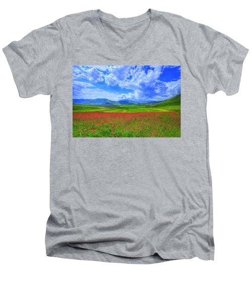 Fields Of Dreams Men's V-Neck T-Shirt by Midori Chan