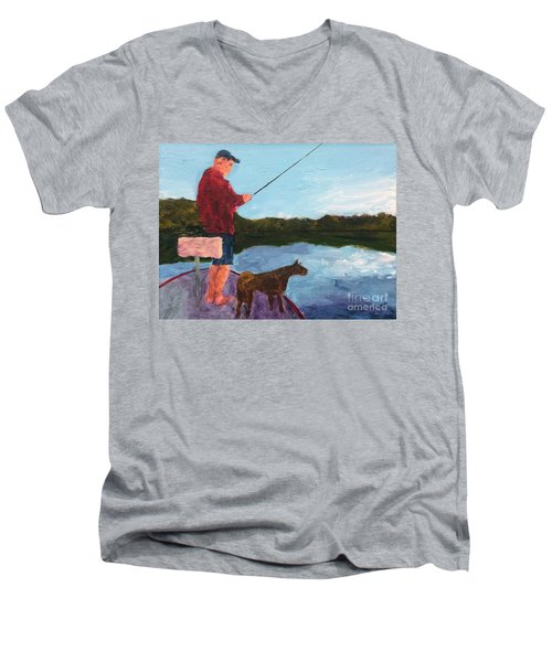 Men's V-Neck T-Shirt featuring the painting Fishing by Donald J Ryker III