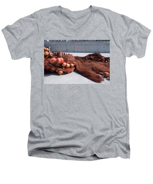Fishing Nets Rest On Dock  Men's V-Neck T-Shirt