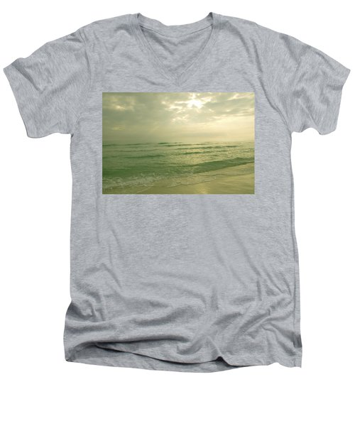 Men's V-Neck T-Shirt featuring the photograph Florida Beach by Charles Beeler