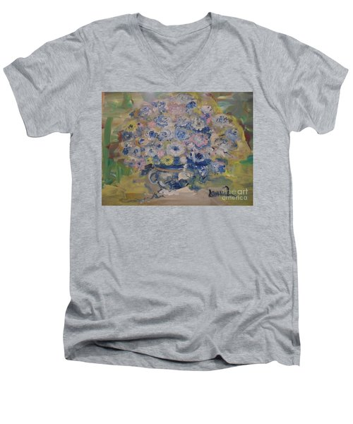Men's V-Neck T-Shirt featuring the painting Flow Bleu by Laurie L