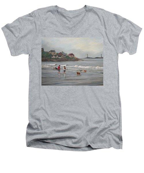 Fog Rolling In On Good Harbor Beach Men's V-Neck T-Shirt by Eileen Patten Oliver