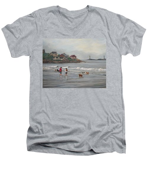 Fog Rolling In On Good Harbor Beach Men's V-Neck T-Shirt