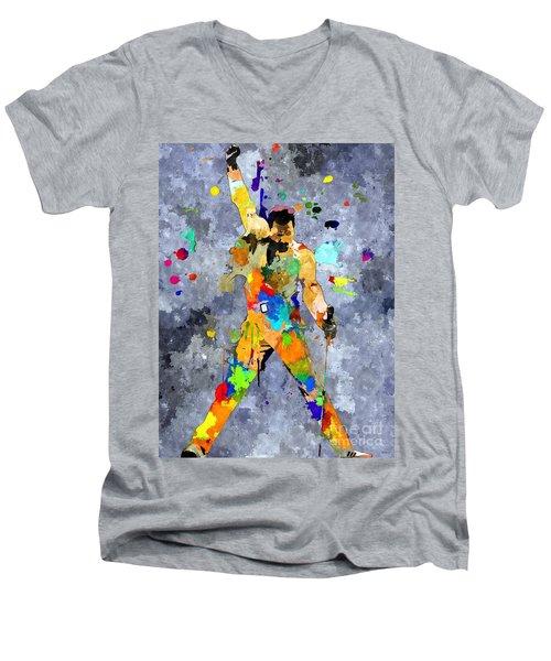 Freddie Mercury Men's V-Neck T-Shirt by Daniel Janda