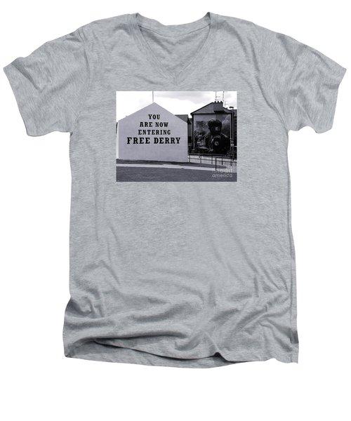Free Derry Corner Men's V-Neck T-Shirt by Nina Ficur Feenan