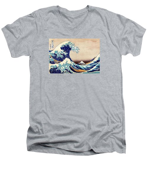 Great Wave Off Kanagawa Men's V-Neck T-Shirt