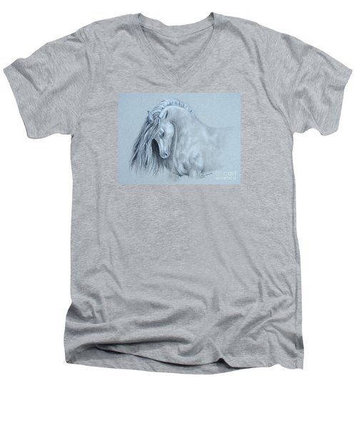 Grey Horse Men's V-Neck T-Shirt by Laurianna Taylor