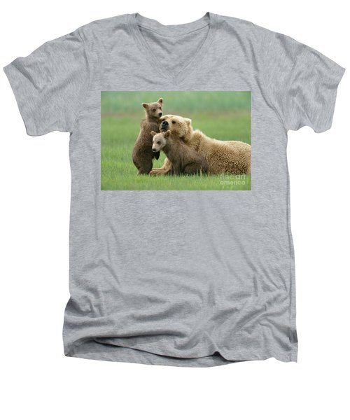 Grizzly Cubs Play With Mom Men's V-Neck T-Shirt