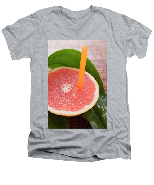 Half A Pink Grapefruit With A Straw Men's V-Neck T-Shirt