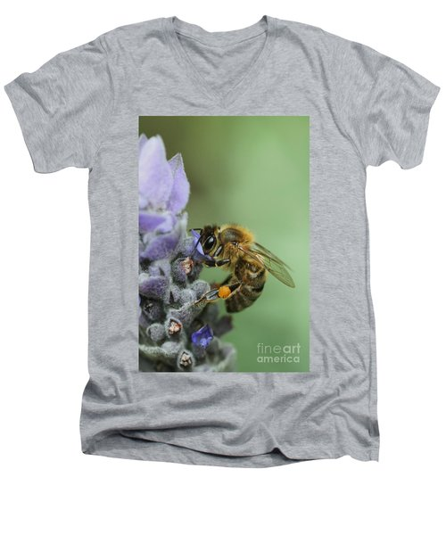 Men's V-Neck T-Shirt featuring the photograph Happy Bee by Joy Watson
