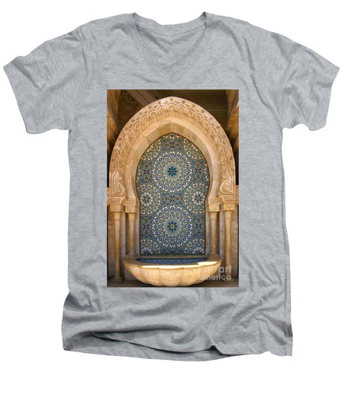 Men's V-Neck T-Shirt featuring the photograph Holy Water Fountain Hassan II Mosque Sour Jdid Casablanca Morocco  by Ralph A  Ledergerber-Photography