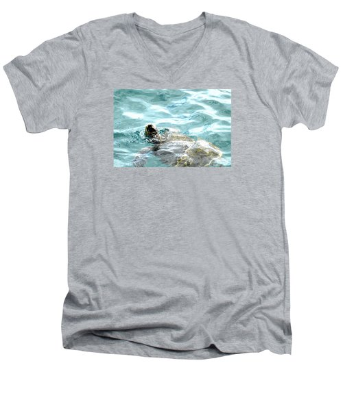 Men's V-Neck T-Shirt featuring the photograph Kamakahonu, The Eye Of The Honu  by Lehua Pekelo-Stearns