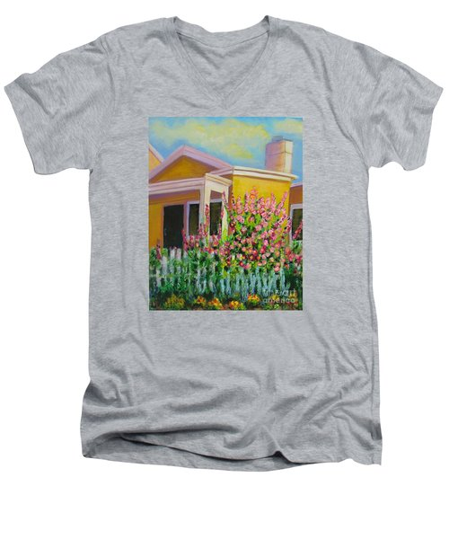 Hot Hollyhocks Men's V-Neck T-Shirt