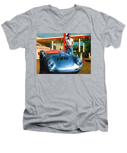James Dean Filling His Spyder With Gas Men's V-Neck T-Shirt by Doc Braham