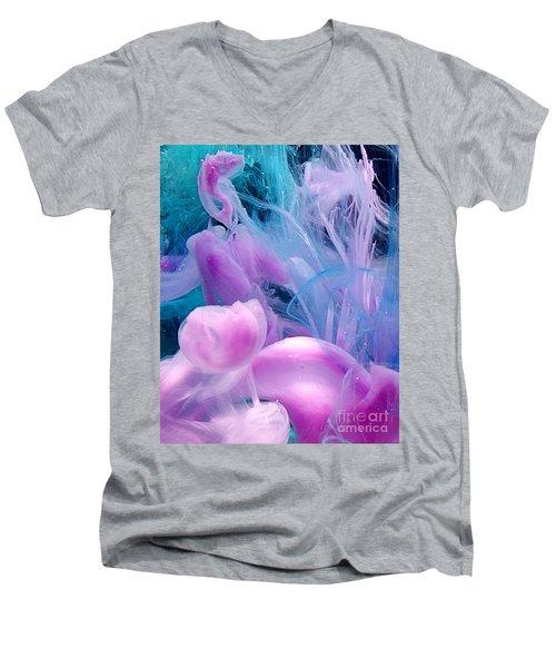 Jellyfish Dreams Men's V-Neck T-Shirt by Liz Masoner