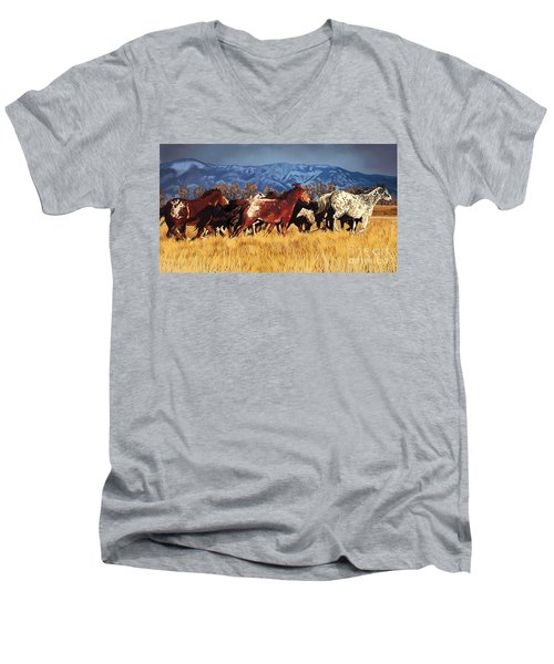 Men's V-Neck T-Shirt featuring the painting Joe's Horses by Tim Gilliland