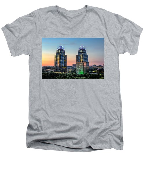 Men's V-Neck T-Shirt featuring the photograph King And Queen Buildings by Anna Rumiantseva