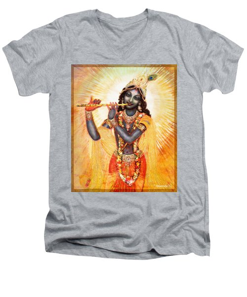 Krishna With The Flute Men's V-Neck T-Shirt