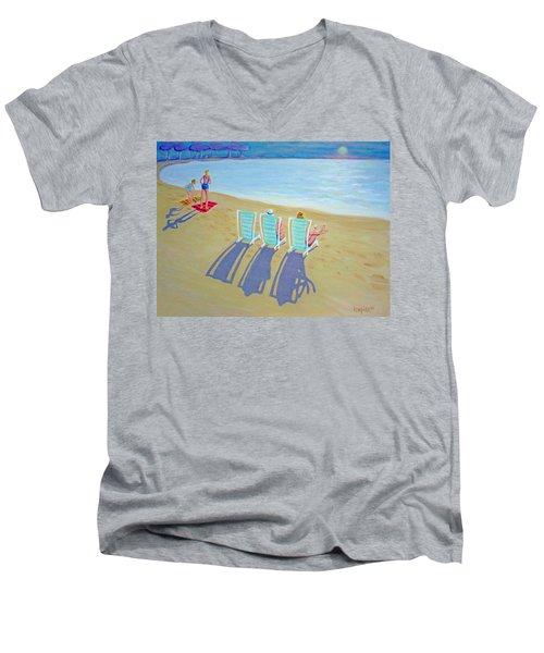 Sunset On Beach - Last Rays Men's V-Neck T-Shirt