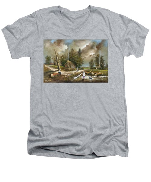 Lightening Tree Men's V-Neck T-Shirt