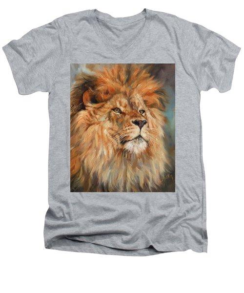 Lion Men's V-Neck T-Shirt by David Stribbling