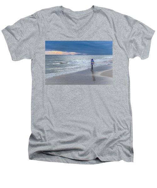 Little Girl At The Beache Men's V-Neck T-Shirt