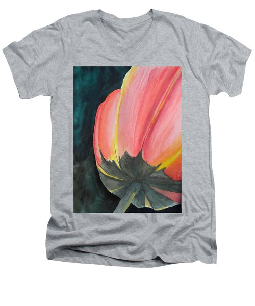 Men's V-Neck T-Shirt featuring the painting Looking Up by Betty-Anne McDonald