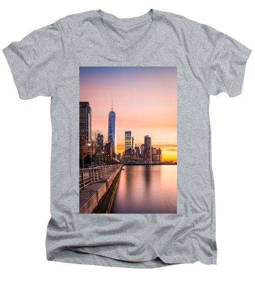 Lower Manhattan At Sunset Men's V-Neck T-Shirt