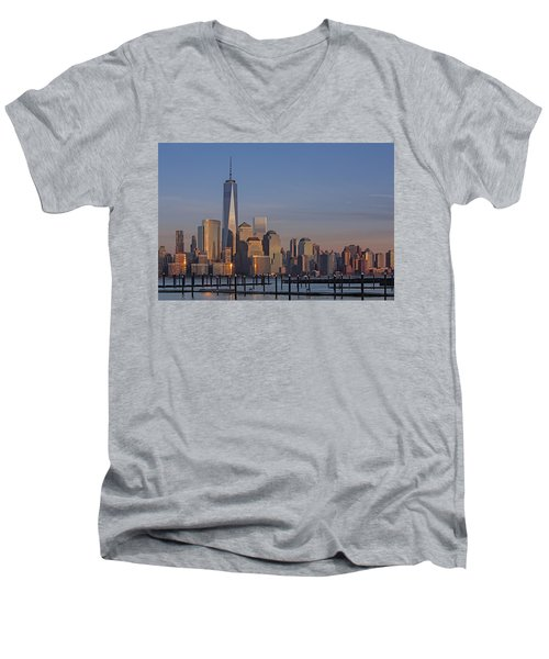 Lower Manhattan Skyline Men's V-Neck T-Shirt by Susan Candelario