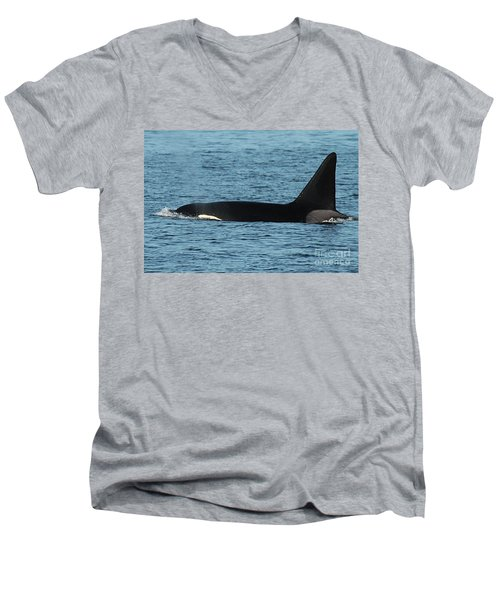 Men's V-Neck T-Shirt featuring the photograph Male Orca Killer Whale In Monterey Bay California 2013 by California Views Mr Pat Hathaway Archives
