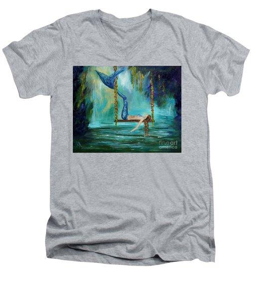 Mermaids Lazy Lagoon Men's V-Neck T-Shirt by Leslie Allen