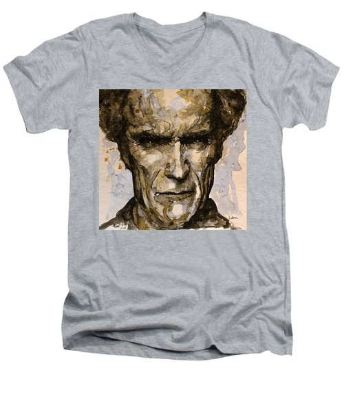 Men's V-Neck T-Shirt featuring the painting Million Dollar Baby by Laur Iduc