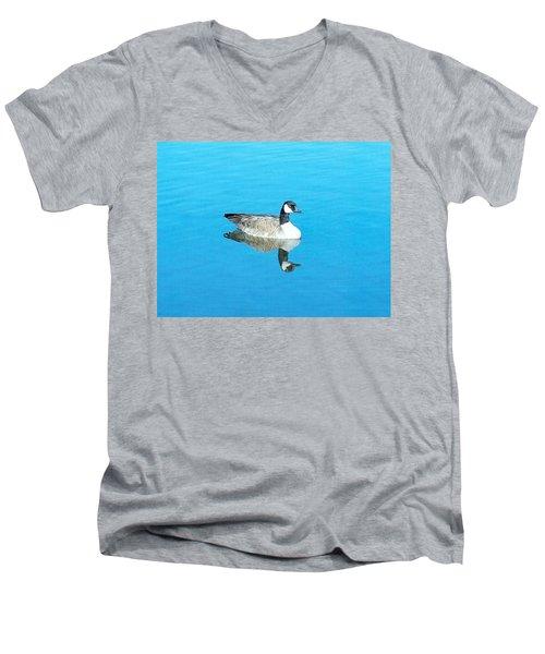 Men's V-Neck T-Shirt featuring the photograph Mirror Goose by Kerri Mortenson
