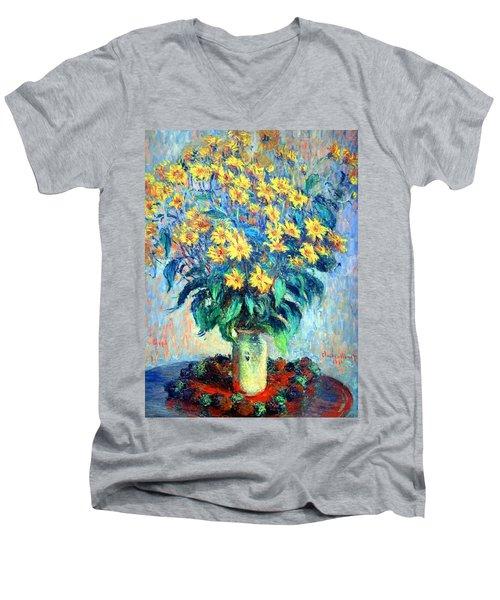 Men's V-Neck T-Shirt featuring the photograph Monet's Jerusalem  Artichoke Flowers by Cora Wandel