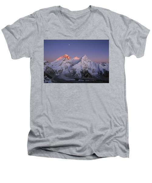 Moon Over Mount Everest Summit Men's V-Neck T-Shirt