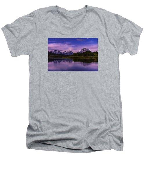 Moonlight Bend Men's V-Neck T-Shirt by Chad Dutson