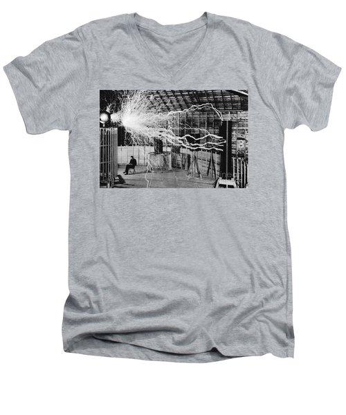 Nikola Tesla Serbian-american Inventor Men's V-Neck T-Shirt